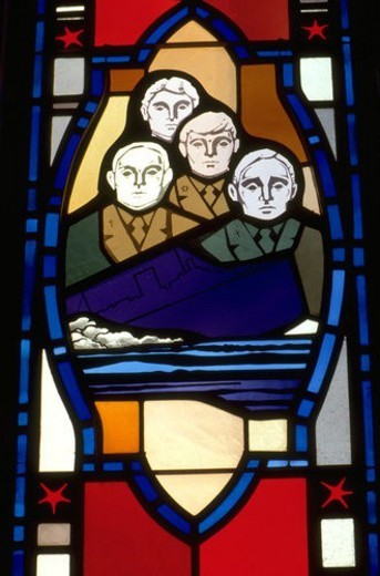 Stock Photo: 4029R-200027 Four military men on sinking boat stained glass window