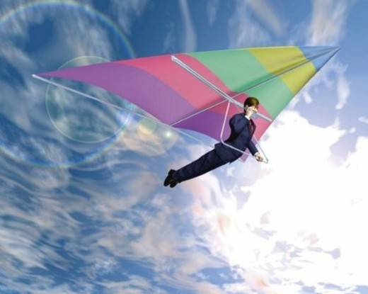 Businessman hang gliding, CG, 3D, Illustration, Low Angle View, Lens Flare : Stock Photo