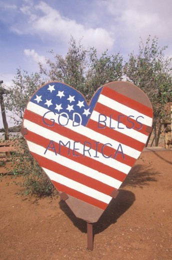 "Heart-Shaped Sign Reading ""God Bless America : Stock Photo"