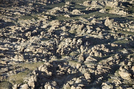 Stock Photo: 4029R-201442 Aerial of rocky terrain in Alabama Hills, California, USA.