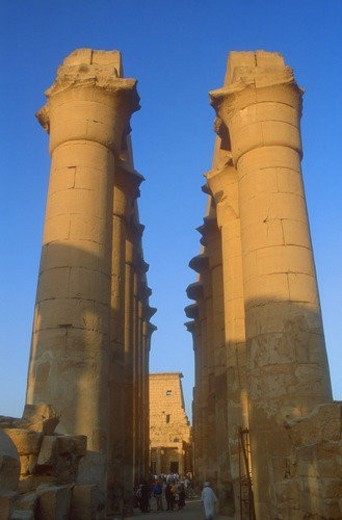 Pillars at ancient Egyptian city : Stock Photo