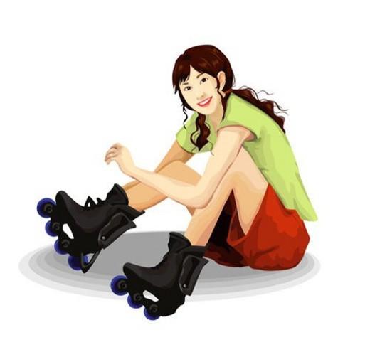 leisure, sports, lifestyle, korean, rollerskate, summer : Stock Photo