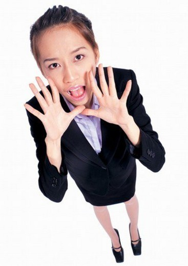Stock Photo: 4029R-203343 executive, business attitudes, profession, business attitudes asian, occupation, hands in air
