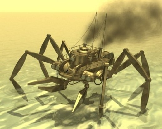 Spider Robot, Illustration, CG, 3D, Sepia, High Angle View : Stock Photo