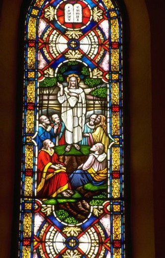 Jesus preaching to the disciples on stained glass window : Stock Photo