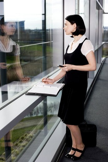 Businesswoman or secretary with an appointments diary, staring out of the window : Stock Photo