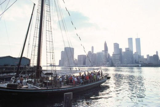 Stock Photo: 4029R-206279 scenic, USA, ship, people, NewYork, building