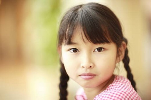Stock Photo: 4029R-20694 Portrait of girl, close up, differential focus, Awaji city, Hyogo prefecture, Japan