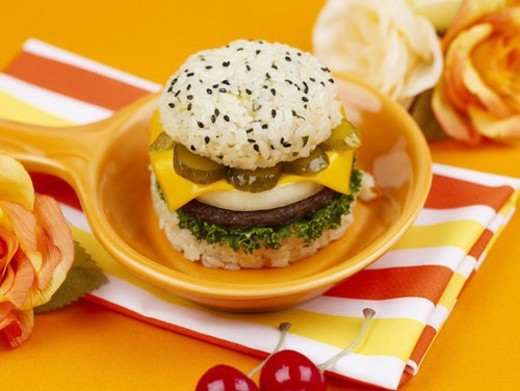 Stock Photo: 4029R-206946 artificial flower, pan, flower, cherry, table mat, food styling, rice burger