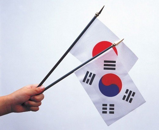 european union, country, korea, emblem, patriotism, cloth : Stock Photo