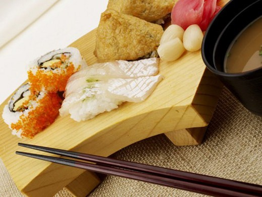 Stock Photo: 4029R-207973 miso soup, plate, chopsticks, decoration, food styling, sea bream, sushi plate