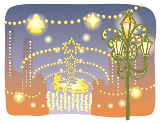 Stock Photo: 4029R-21117 Painting of Christmas illumination on the street, Illustration