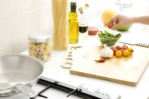 Vegetable, spice and herb on cutting board : Stock Photo