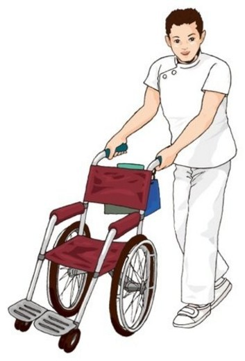 Stock Photo: 4029R-212753 Nurse with wheel chair, Illustration