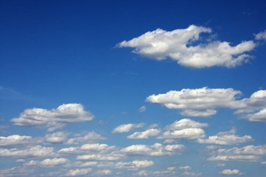 Peaceful clouds in blue sky. : Stock Photo