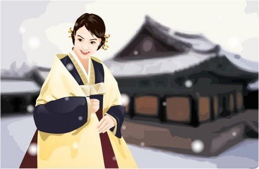 korean dress, snow, shawl, culture, costume : Stock Photo