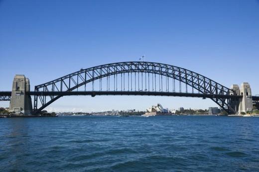 Stock Photo: 4029R-21366 Sydney Harbour Bridge with view of  Sydney Opera House in Australia.