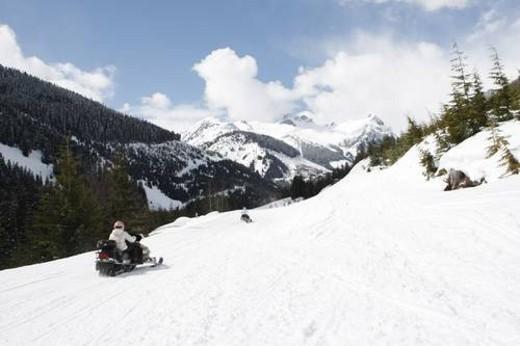 Stock Photo: 4029R-21451 snowmobile adventure tour in Whistler British Columbia