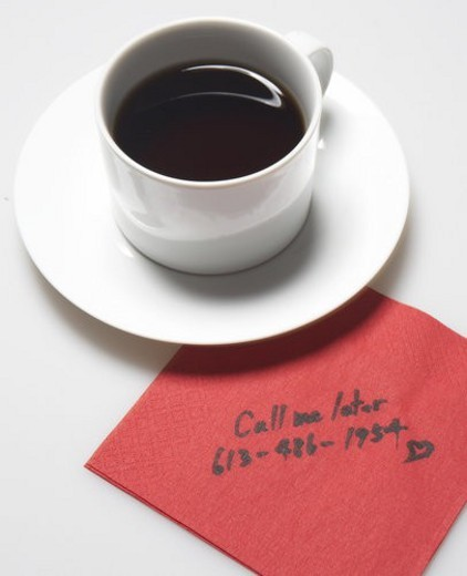Stock Photo: 4029R-214551 Message on Napkin Beside Coffee Cup