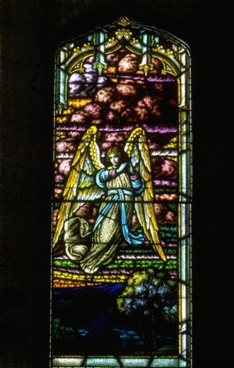 Stock Photo: 4029R-21465 Angel flying stained glass window