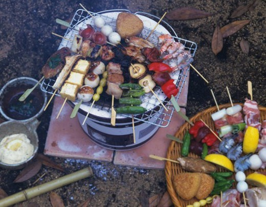 Grilled Food on Skewers, High Angle View : Stock Photo