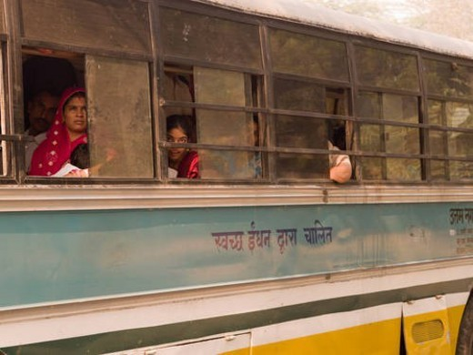 Stock Photo: 4029R-216343 People on bus in India