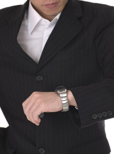 time, businessman, wrist watch, hand, business suit, business : Stock Photo