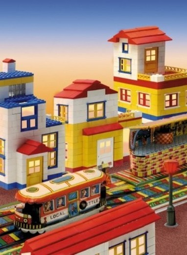 Toy, Railroad Station, High Angle View : Stock Photo