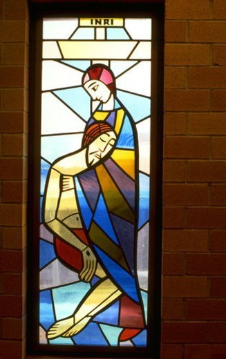 Stock Photo: 4029R-21798 Mother Mary comforting Jesus on stained glass window