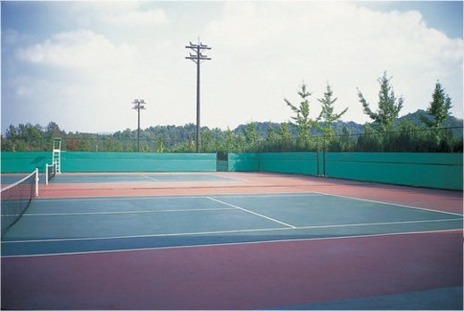leisure, sports, physical, exercise, empty, tennis court : Stock Photo