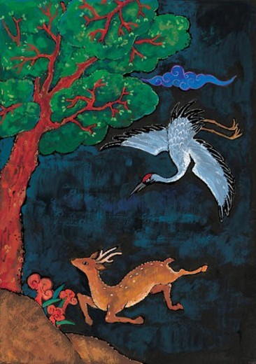 Stock Photo: 4029R-221084 cloud, Orientalpainting, crane, deer, pine, animal, tradition
