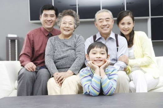 A portrait of whole family : Stock Photo
