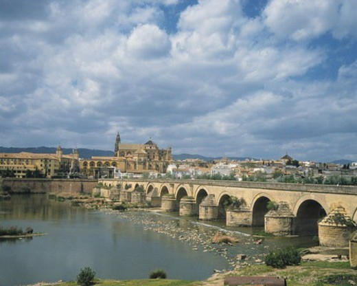 Roman Bridge, Cordoba, Spain, Europe, High Angle View, Pan Focus : Stock Photo