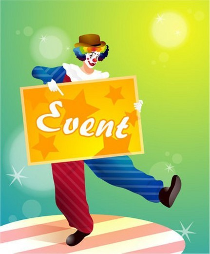 Stock Photo: 4029R-222249 gesture, circus, pointing, signpost, pierrot, event