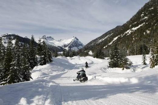 snowmobile adventure tour in Whistler British Columbia : Stock Photo