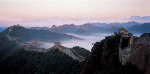 High angle shot of Mutianyv Great Wall,Beijing : Stock Photo