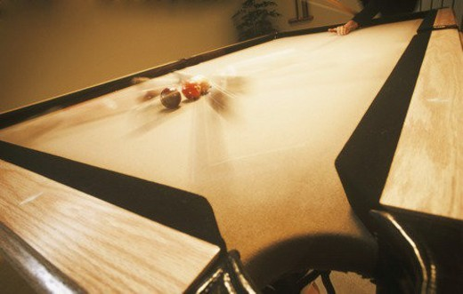 Action shot of pool game : Stock Photo