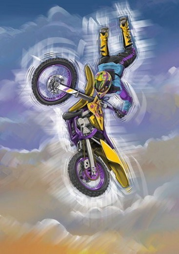 Stock Photo: 4029R-225477 Man jumping through the air with his motorbike