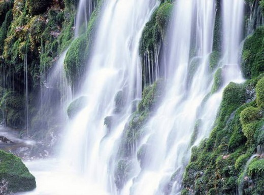 Stock Photo: 4029R-227370 Waterfalls, close up, long exposure, Nikaho city, Akita prefecture, Japan