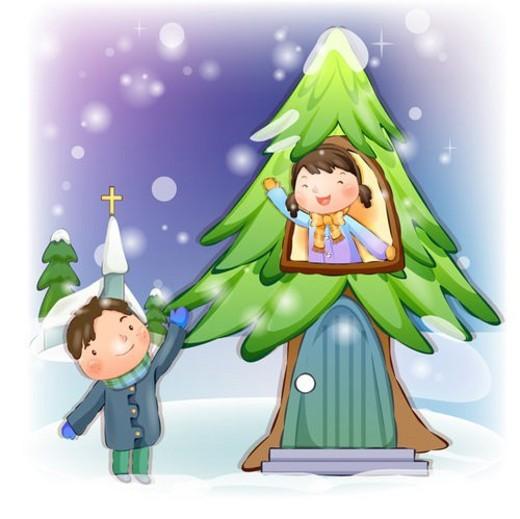 Stock Photo: 4029R-227573 boy, winter, girl, chirstmas, snow, child