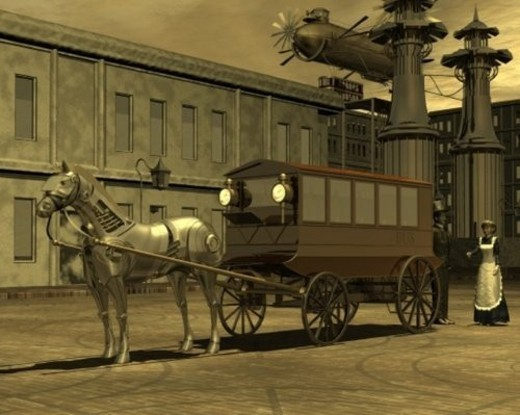 Robot Horse and Carriage, Illustration, CG, 3D, Sepia, Low Angle View : Stock Photo