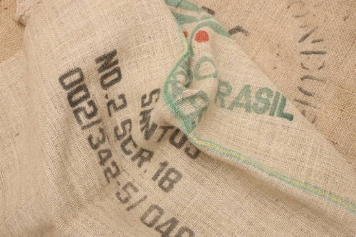 Stock Photo: 4029R-231956 Brown hessian sack with stencil writing