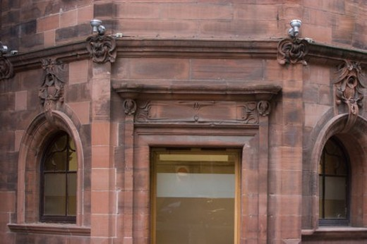 Stock Photo: 4029R-232035 Detail of building by Charles Rennie Mackintosh, Glasgow School of Design, with typical Art Nouveau ornamentation, that defined his style, Glasgow, Scotland