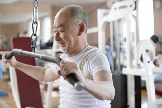 Stock Photo: 4029R-232196 Japanese Man, Fitness Club