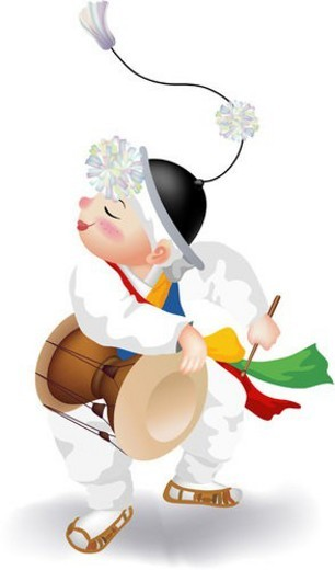 people, hourglass-shaped drum, stick, instrument, percussion, janggu : Stock Photo