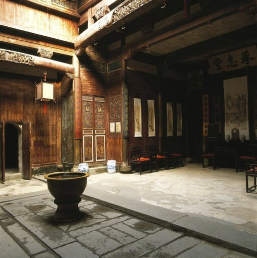 Stock Photo: 4029R-233978 Antechamber of Inheritance Hall, Hong Village, Yi County, Anhwei