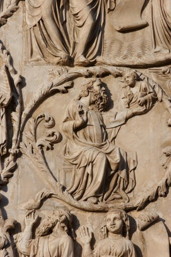 detail of stone sculptured bas-relief stone sculptured plaques on exterior facade of Orvieto Duomo, Umbria, Italy : Stock Photo
