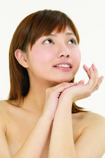 Bangs, Close-Up, Brown Hair, Asian Ethnicity : Stock Photo