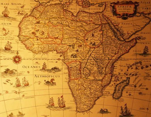 Stock Photo: 4029R-234192 Old map of Africa