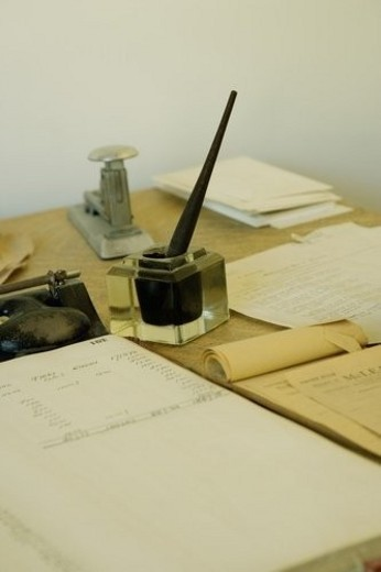 Antique office supplies : Stock Photo
